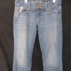 AMERICAN EAGLE, destroyed blue jeans, size 8 REG